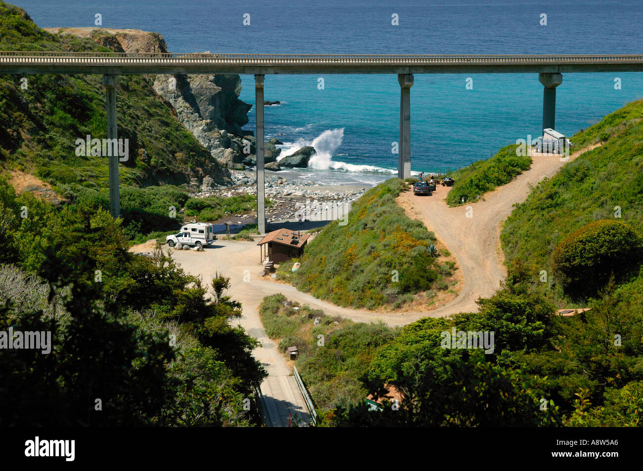 the campground and highway 1 at limekiln state park central coast