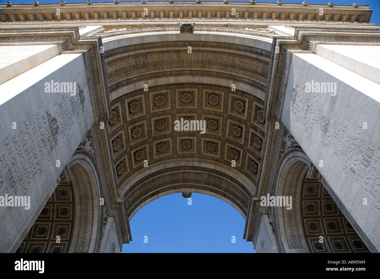Arc de Triomphe & Champs elysees Paris France April - Stock Image