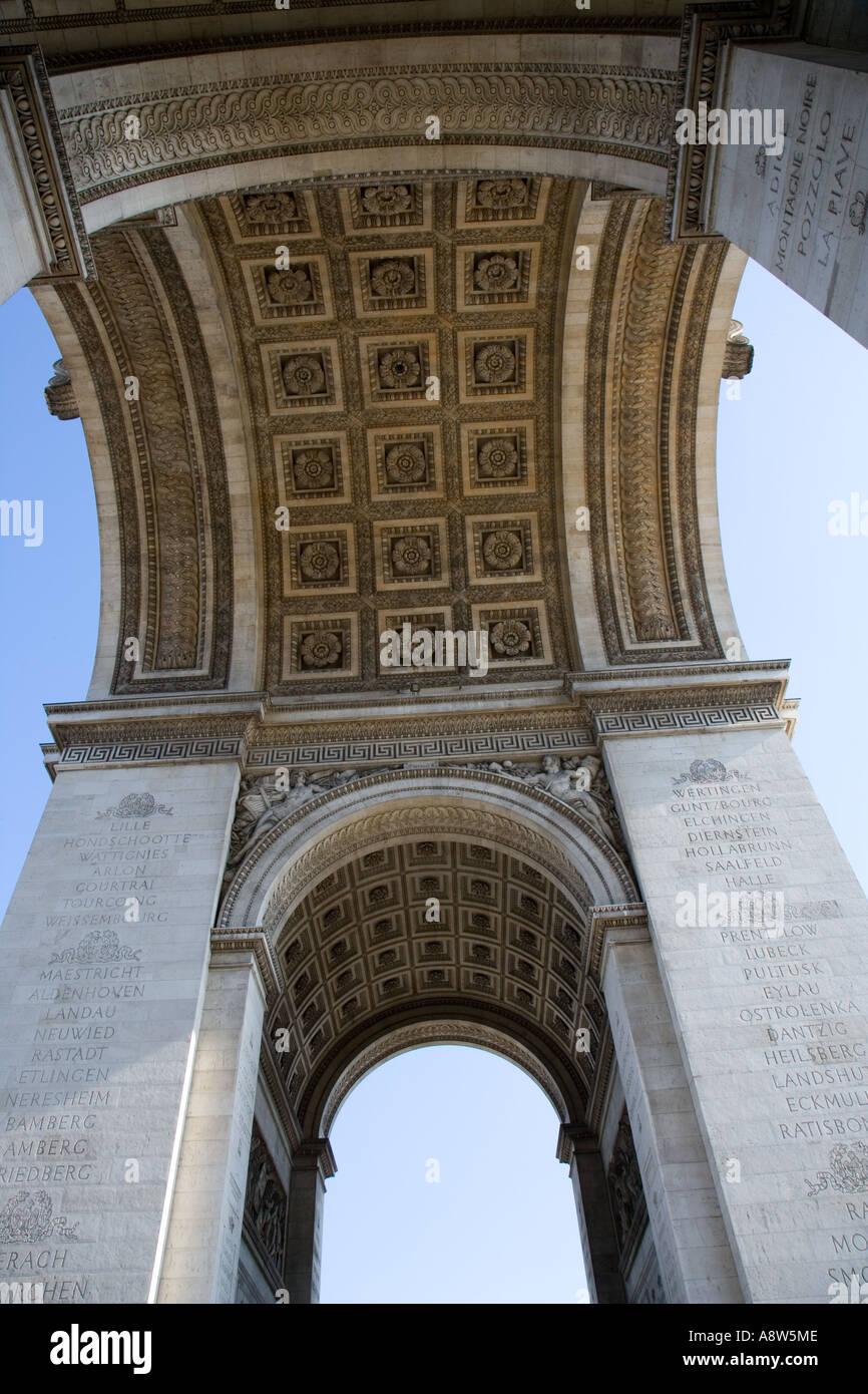 Arc de Triomphe & Champs elysees Paris France April Stock Photo