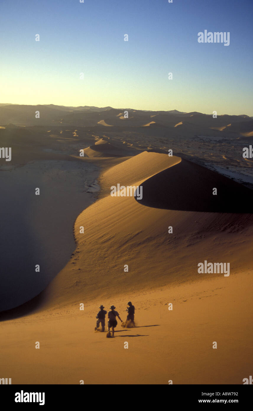 View from the summit of Big Daddy near Sossusvlei in the Namib Naukluft National Park Namibia south west Africa Stock Photo