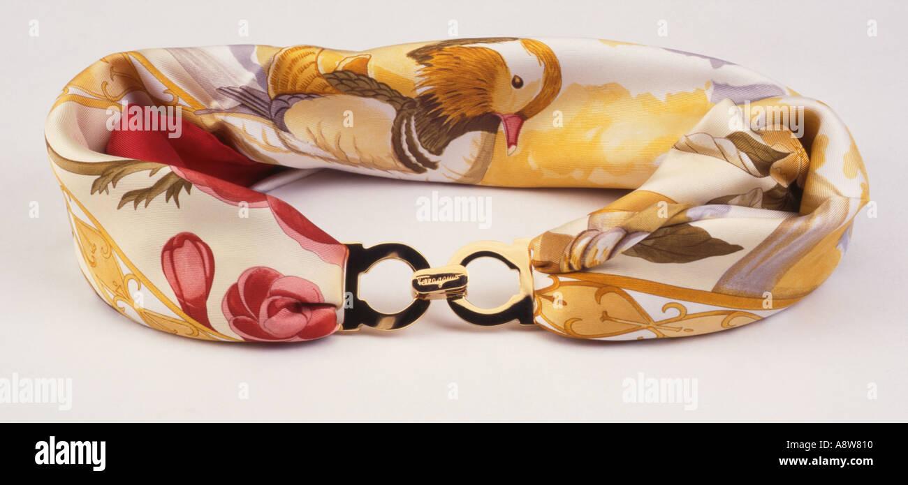 ladies silk scarf belt - Stock Image