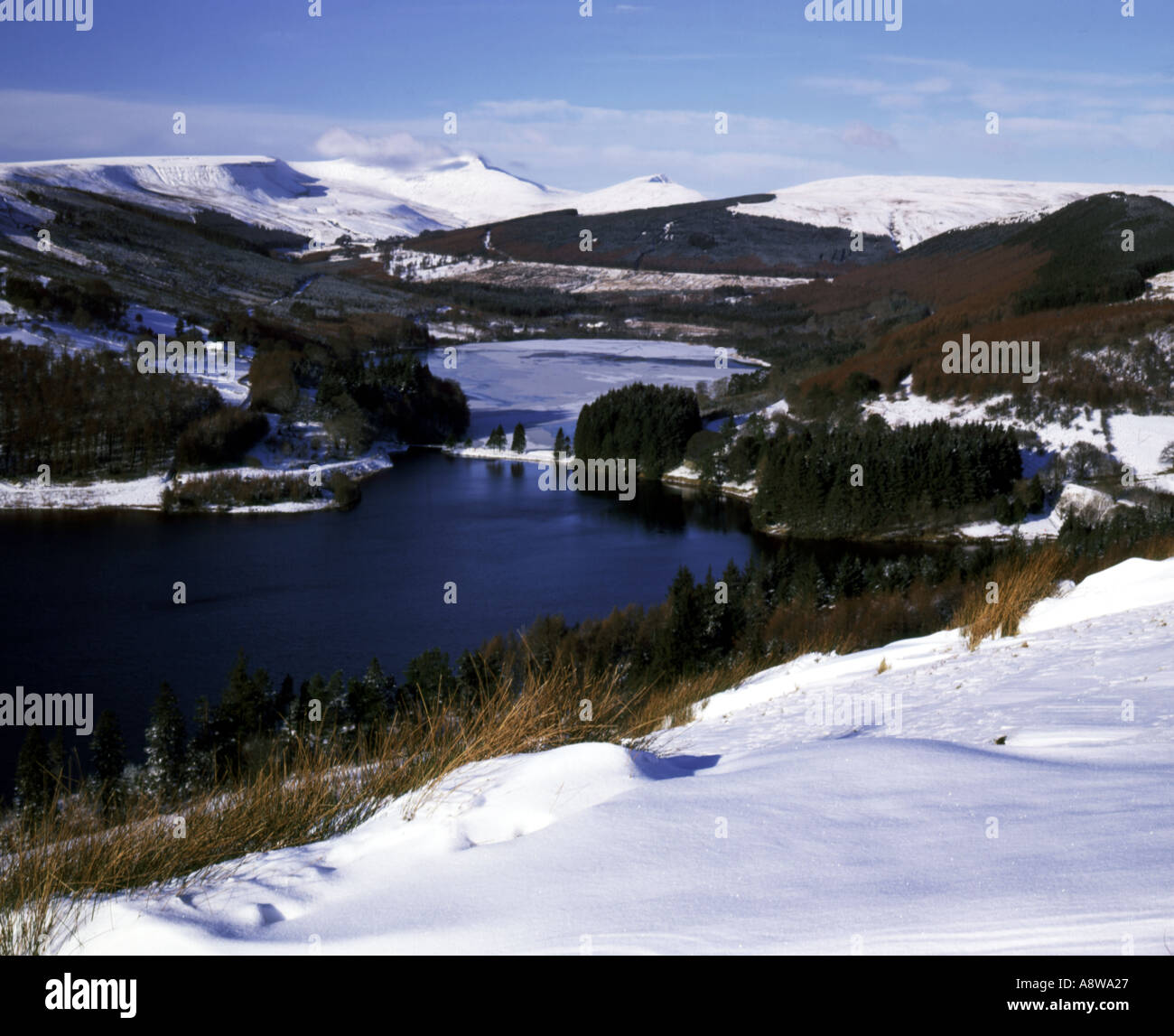 taf fechan reservoirs and the brecon beacons from dol y gaer brecon beacons national park wales Stock Photo