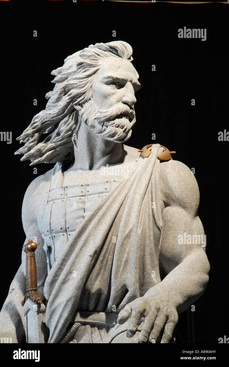 Granite Celtic Warrior Sculptor Jerry Williams - Stock Image