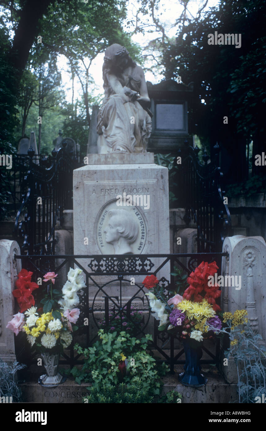 Chopin memorial grave in Pere Lachaise Cemetery Paris France - Stock Image