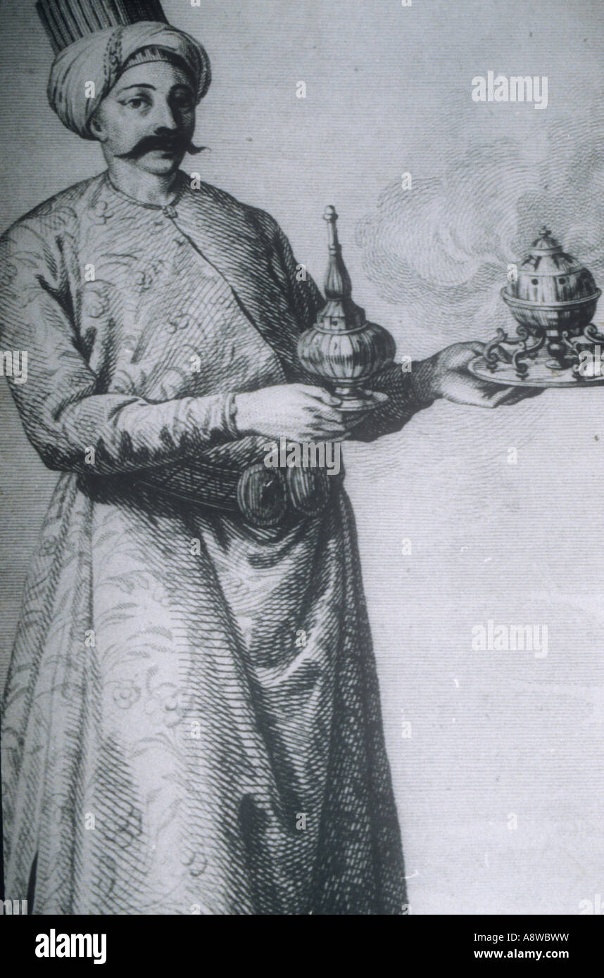 Ottoman servant carrying incense, lithograph Topkapi Museum in Istanbul - Stock Image