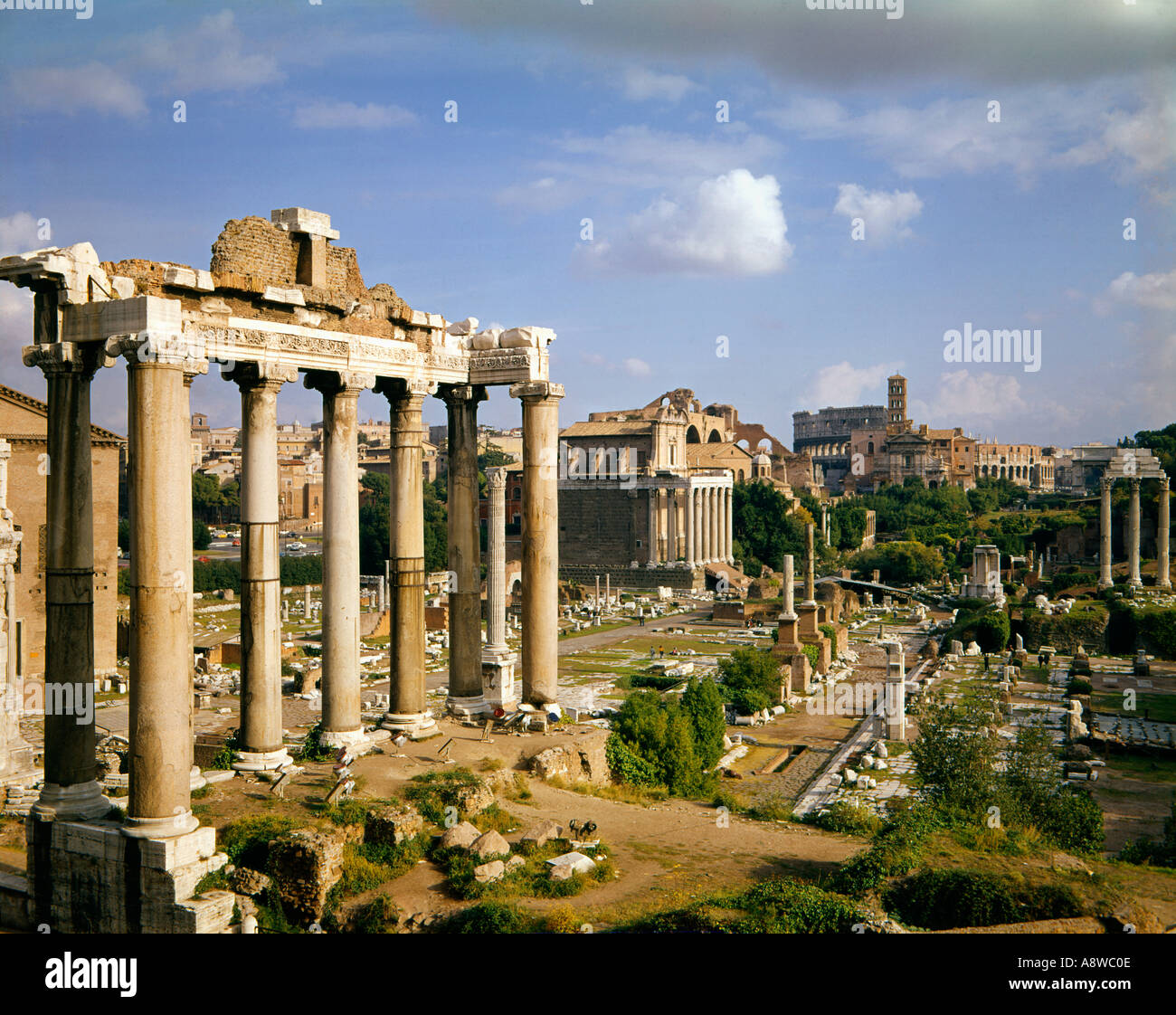 ancient ruins of the Forum in Rome Italy - Stock Image