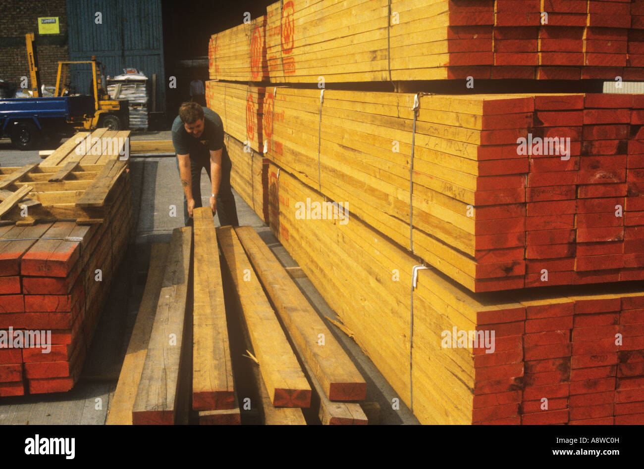 Timber yard with softwoods London - Stock Image