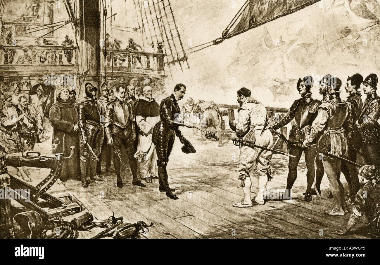 Spanish Armada admiral surrenders his sword to British commander Francis Drake 1588. Photogravure reproduction of a painting - Stock Image