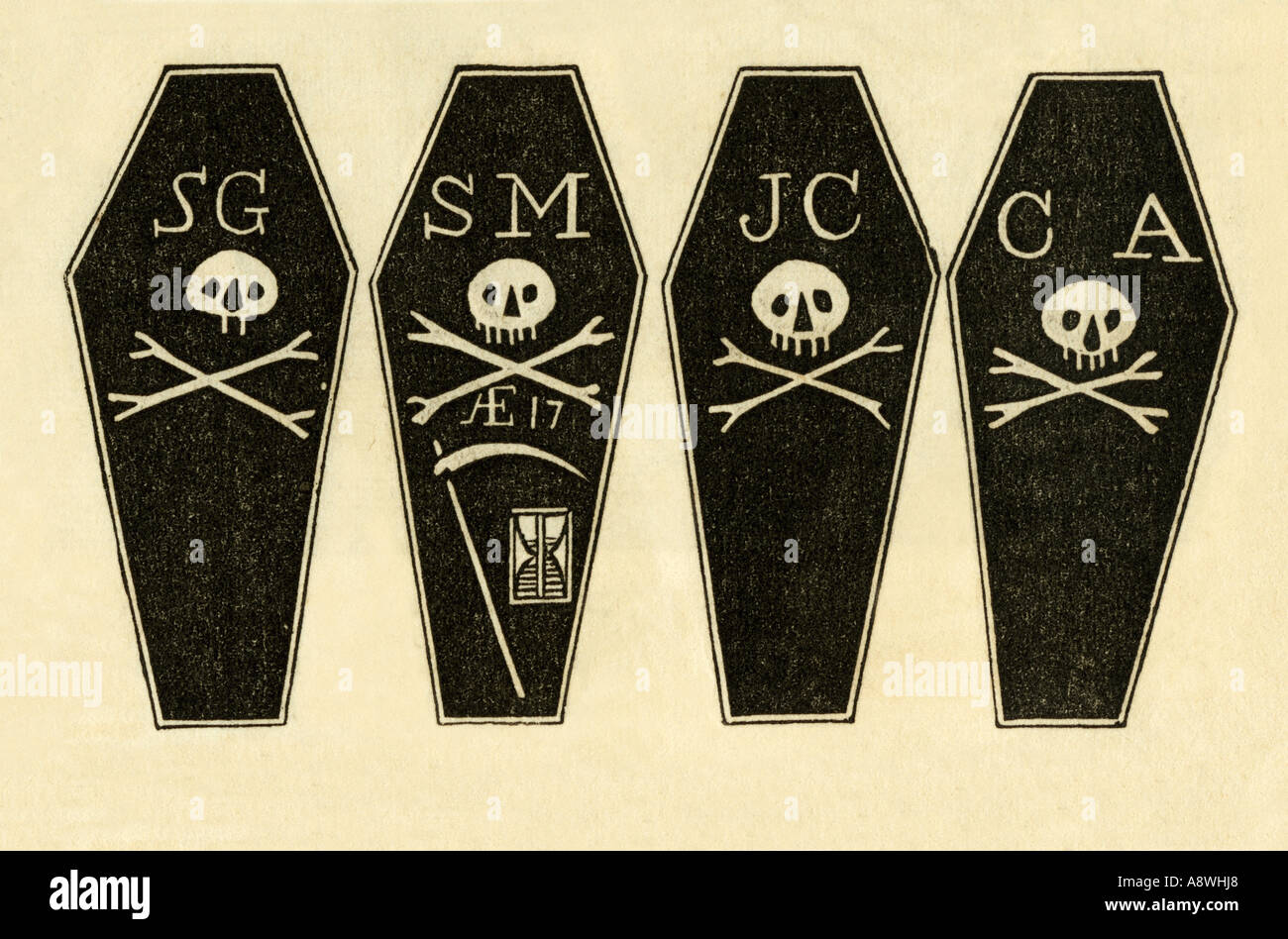 Illustration protesting the Boston Massacre showing coffins with the initials of the four victims 1777. Woodcut with a watercolor wash - Stock Image