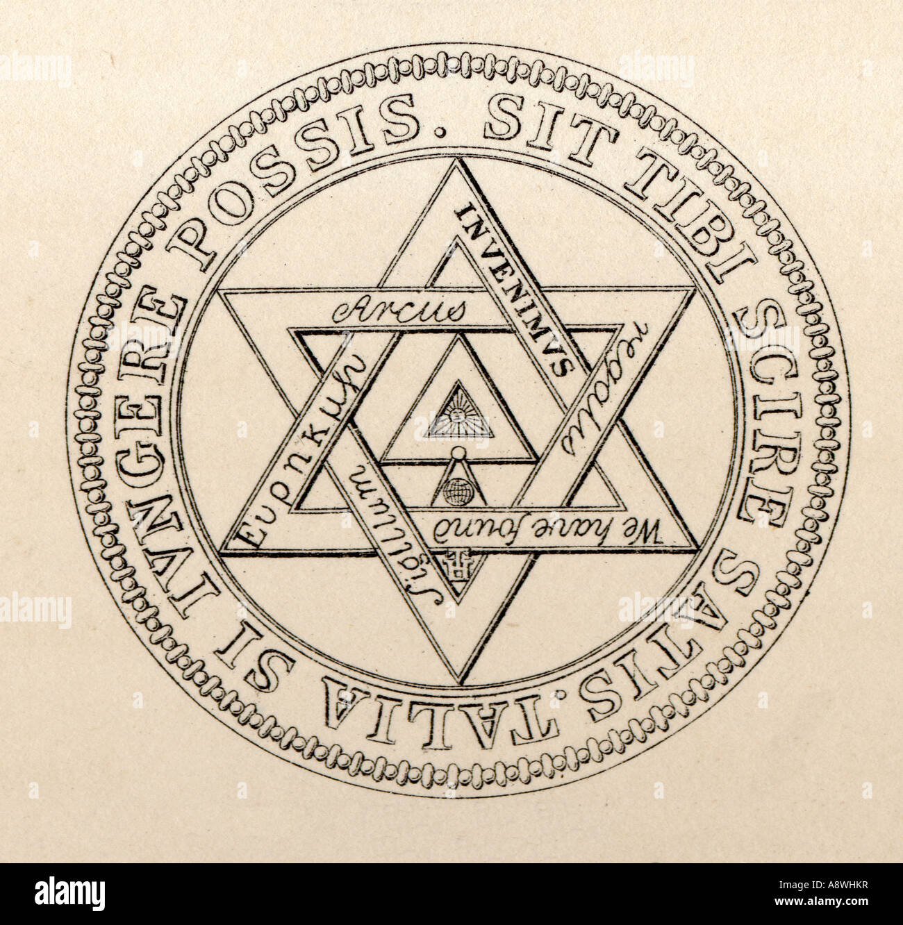 Masonic Seal Grand Chapter London 1769 to 1817 Stock Photo