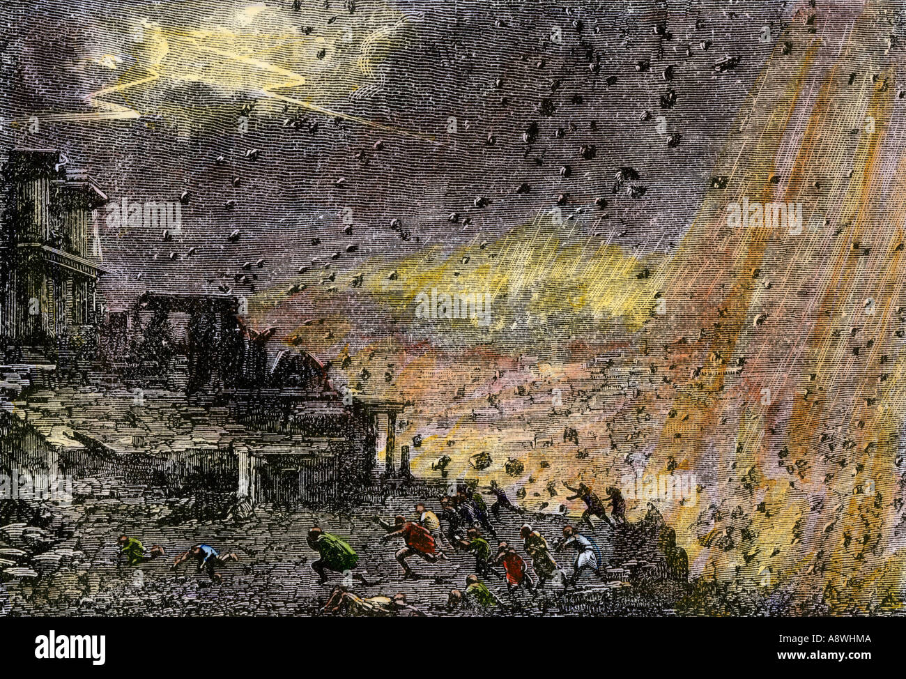 Destruction Of The Ancient City Pompeii By Mount Vesuvius 79 AD Hand Colored Woodcut