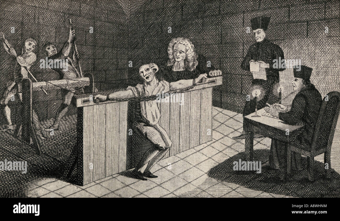 The torture of John Coustos 1703 to 1746 in Lisbon 1744 - Stock Image