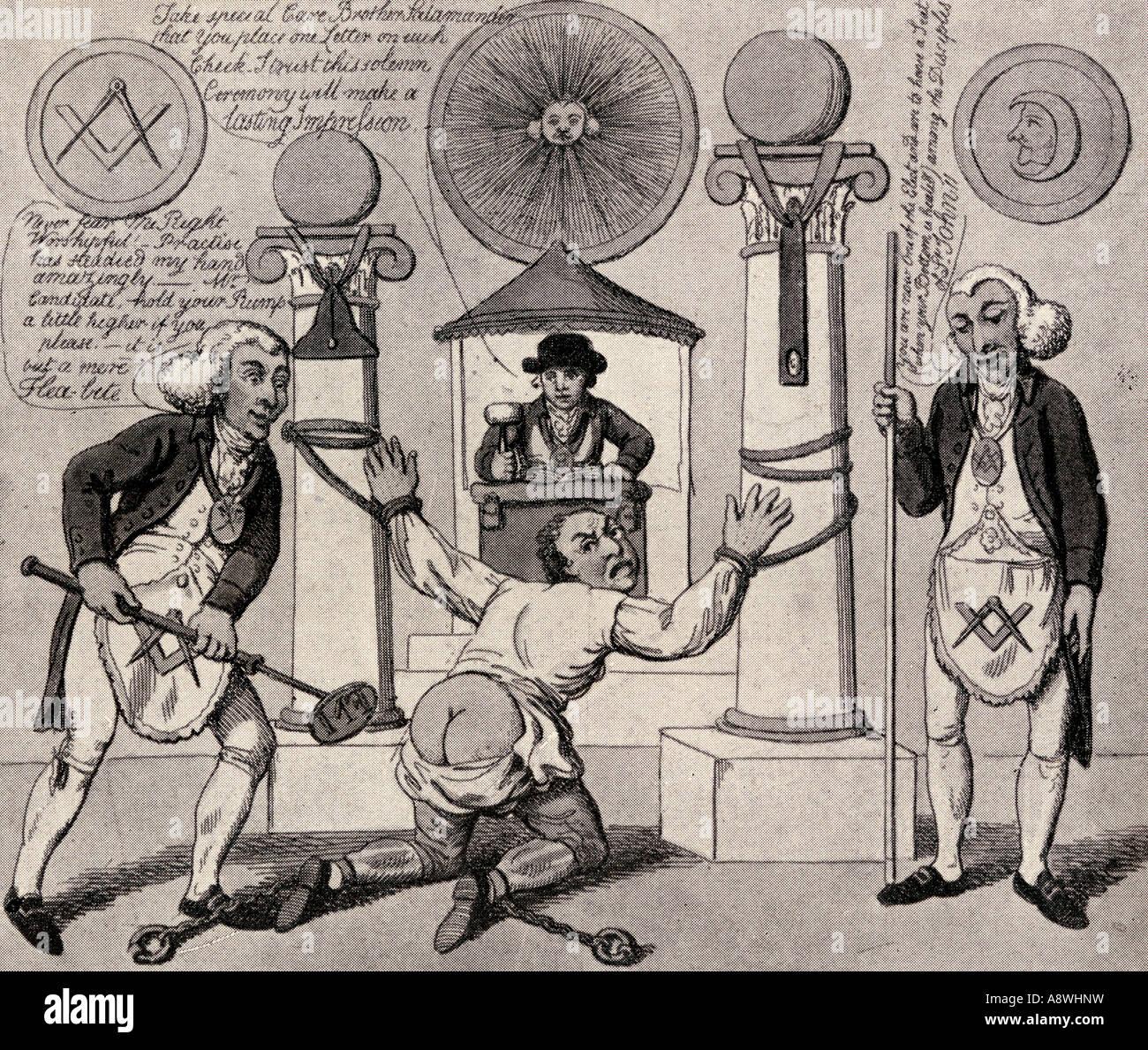 How to make a Mason English antimasonic caricature from 1800 - Stock Image