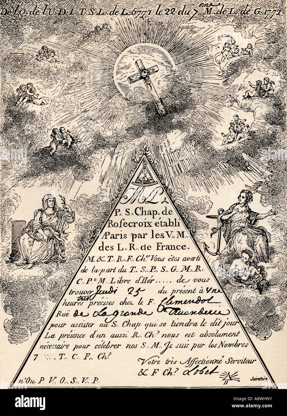 Invitation from the French Chapter of the Freemasons 1771 - Stock Image