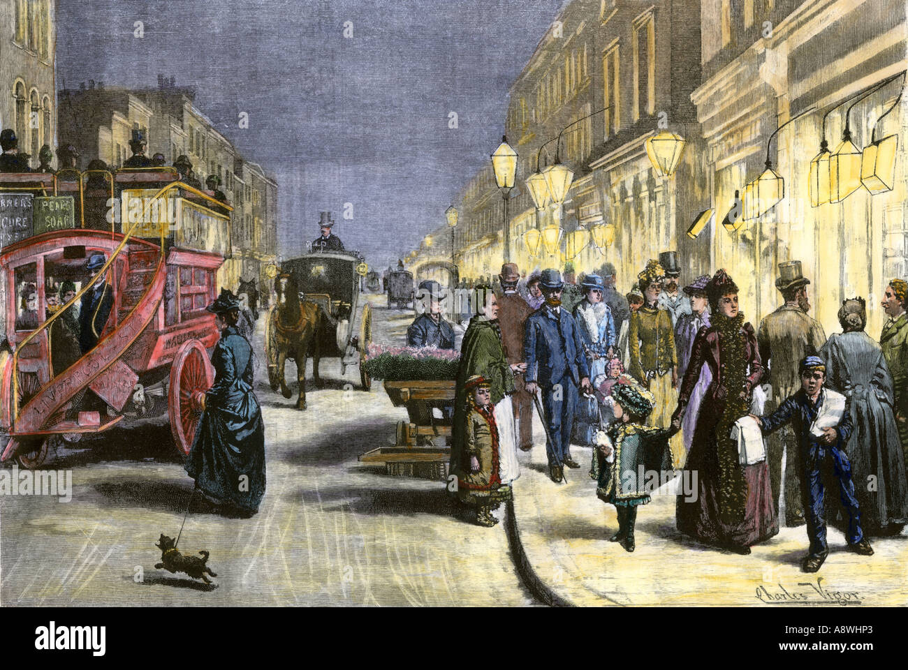 Busy London street at night with electric lights circa 1890. Hand-colored woodcut - Stock Image