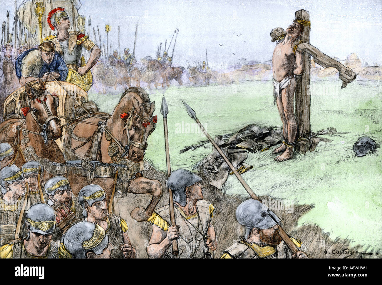 Alexander the Great punishing Bessus of Bactria for his opposition 328 BC. Hand-colored halftone of an illustration - Stock Image
