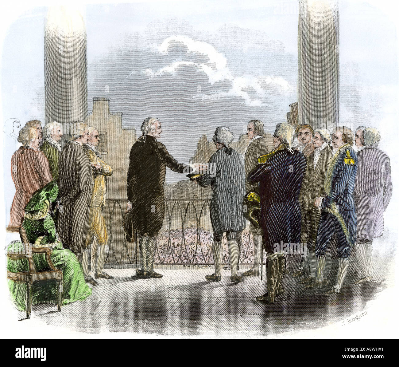 Inauguration of George Washington as first President of the United States at Federal Hall in New York City 1789. Hand-colored steel engraving - Stock Image