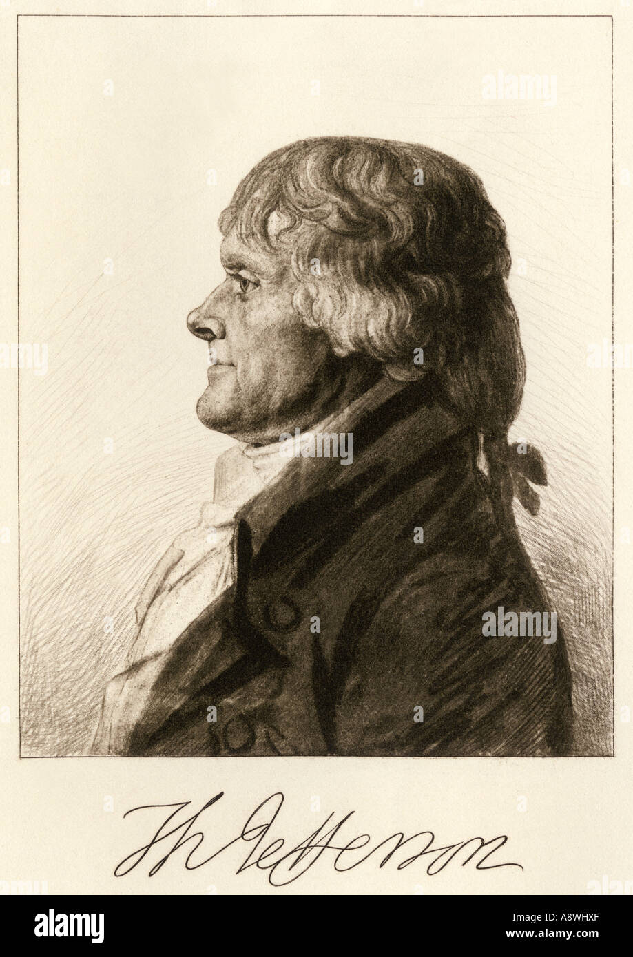 f8b28fc1dad6 Thomas Jefferson profile with autograph. Photogravure reproduction of a  drawing