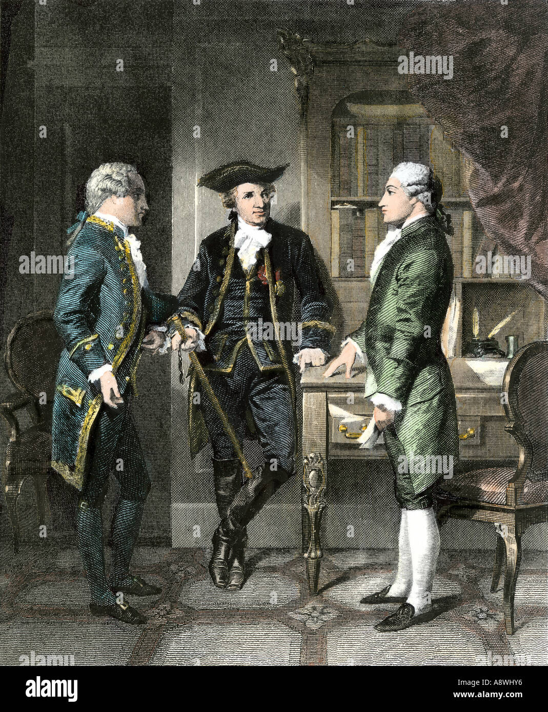 Baron Johann de Kalb introducing the Marquis de Lafayette to Silas Deane during the American Revolution. Hand-colored steel engraving - Stock Image