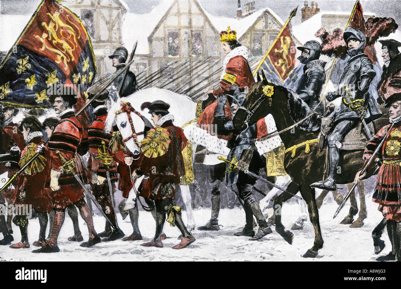 Edward VI entering London in his coronation procession 1547. Hand-colored halftone of an illustration - Stock Image