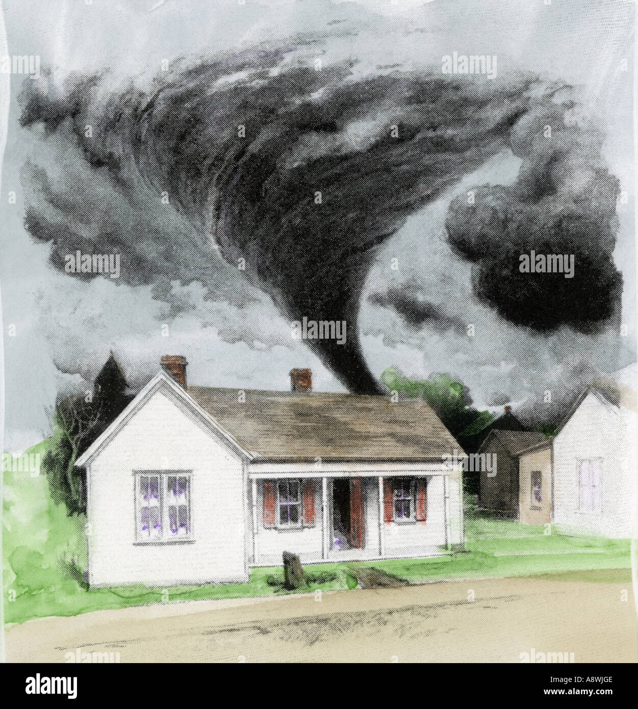Tornado approaching a house in Kirksville Maryland April 27 1899. Hand-colored halftone of an illustration - Stock Image