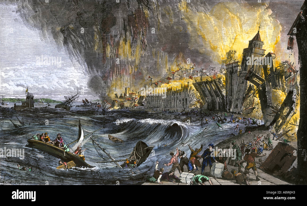 Earthquake and tidal wave causing destruction of buildings in Lisbon Portugal 1755. Hand-colored woodcut - Stock Image