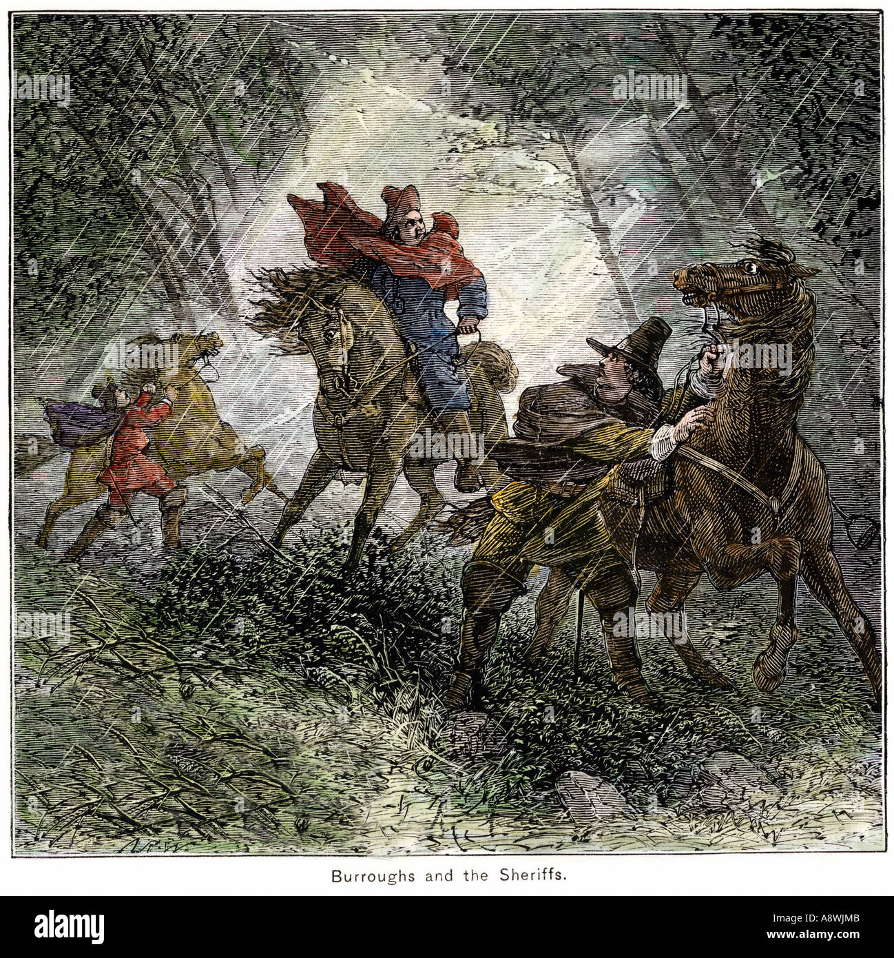 Stephen Burroughs pursued by the Salem sheriff during the witchcraft hysteria in Massachusetts Bay Colony 1690s. Hand-colored woodcut - Stock Image