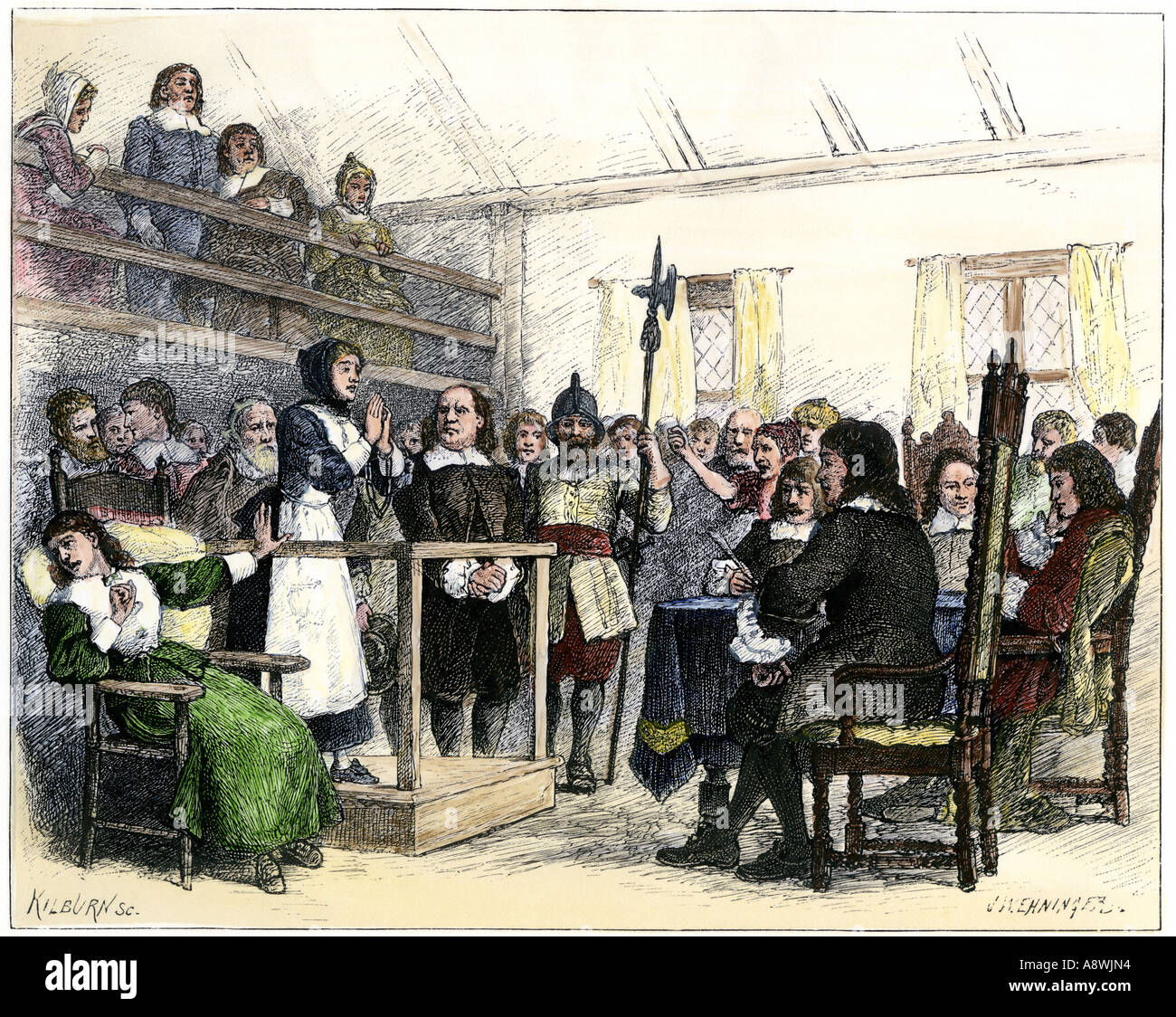 Trial of wife of Giles Corey for witchcraft Salem 1692. Hand-colored woodcut - Stock Image
