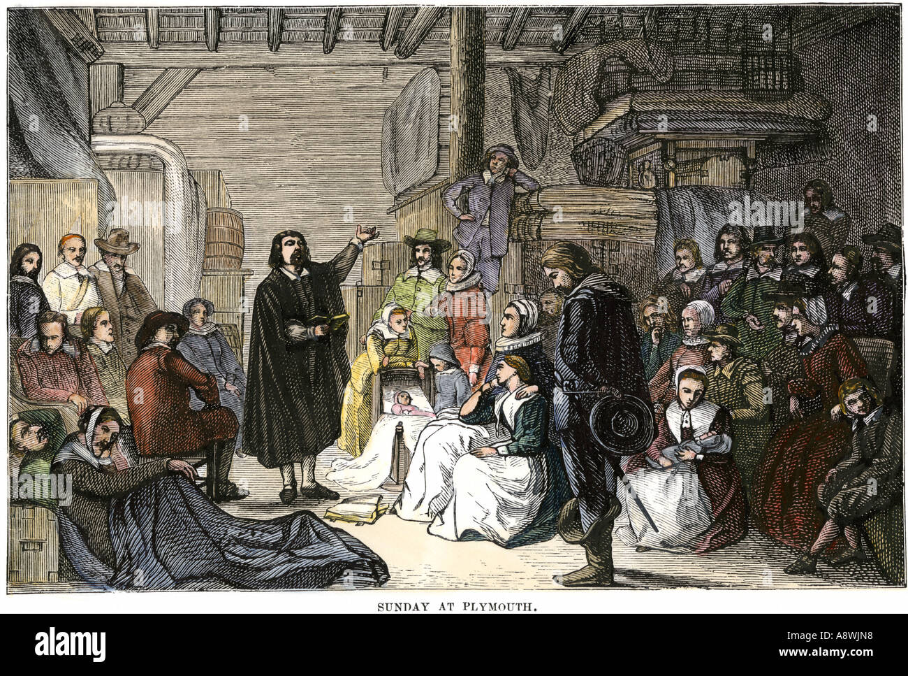 Sunday worship service at Plymouth Colony Massachusetts 1620s. Hand-colored woodcut - Stock Image