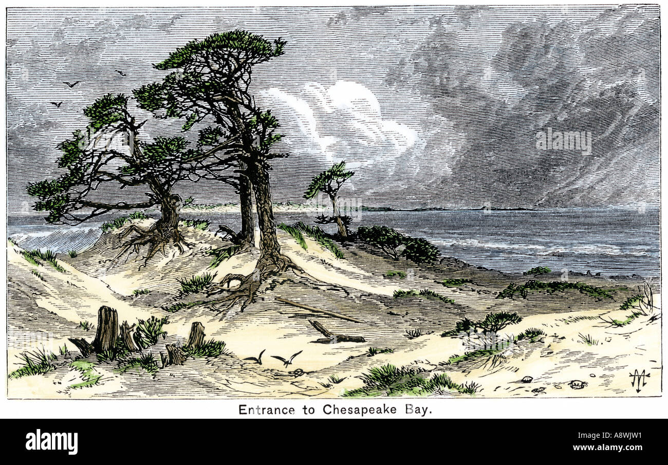 Entrance to Chesapeake Bay as seen by the early explorers and colonists - Stock Image