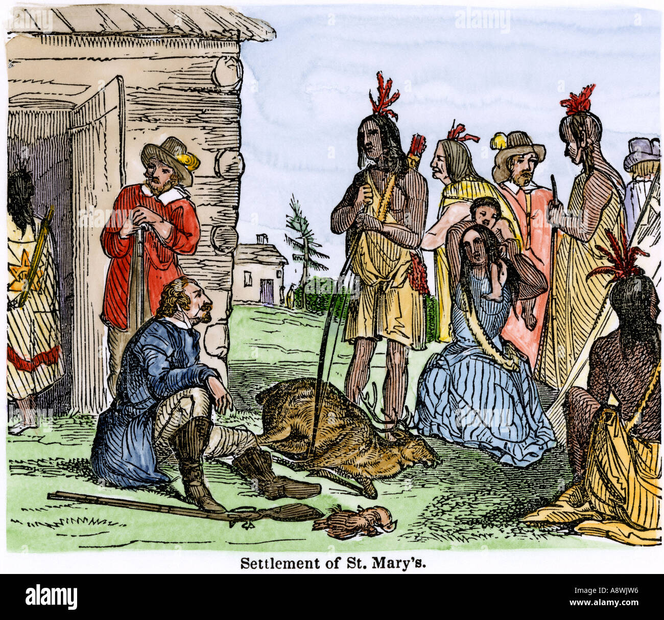 St Marys a trading post settlement in Maryland 1600s. Hand-colored woodcut - Stock Image