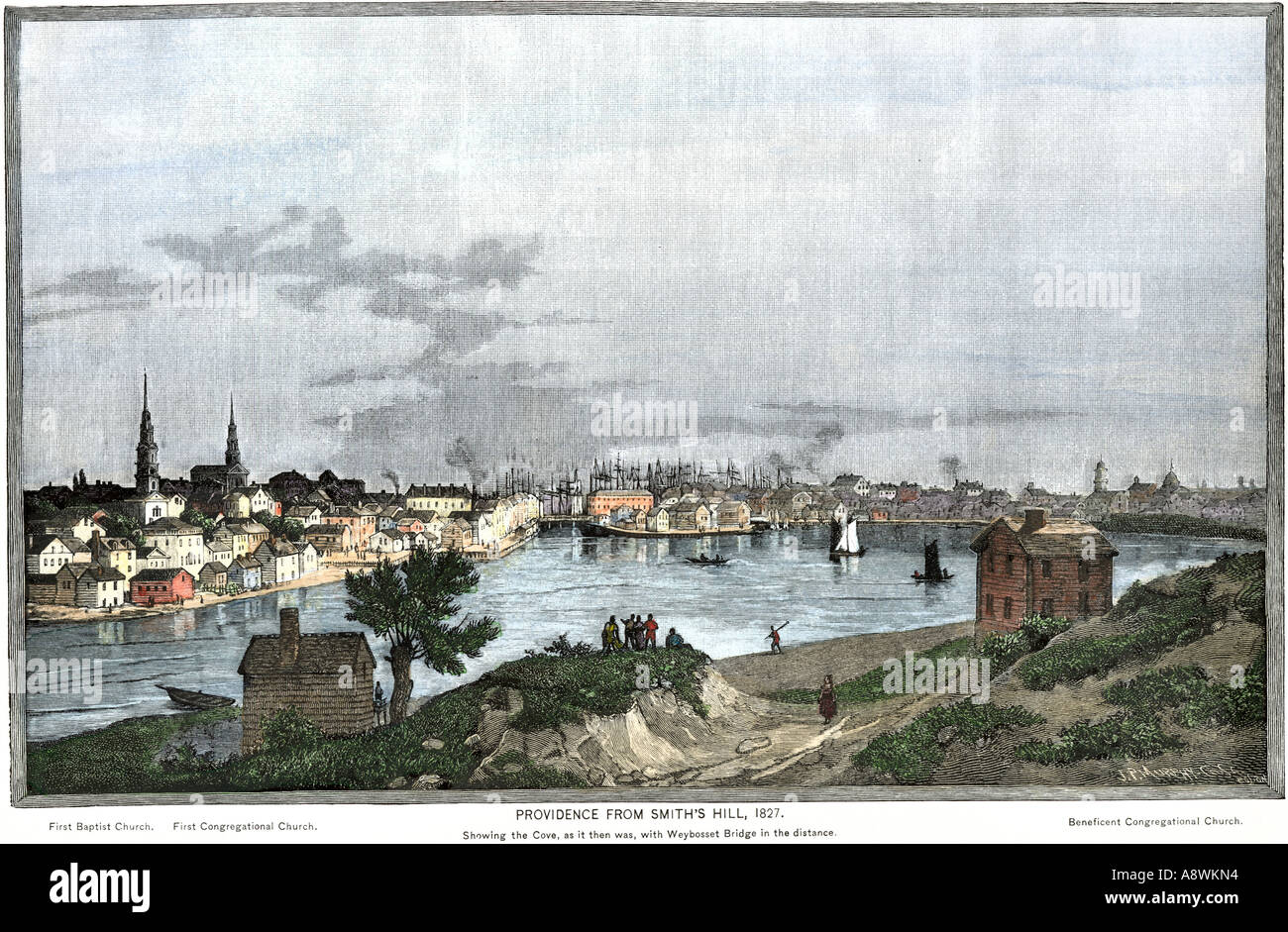 Providence Rhode Island in 1827 showing the Cove from Smiths Hill. Hand-colored woodcut - Stock Image