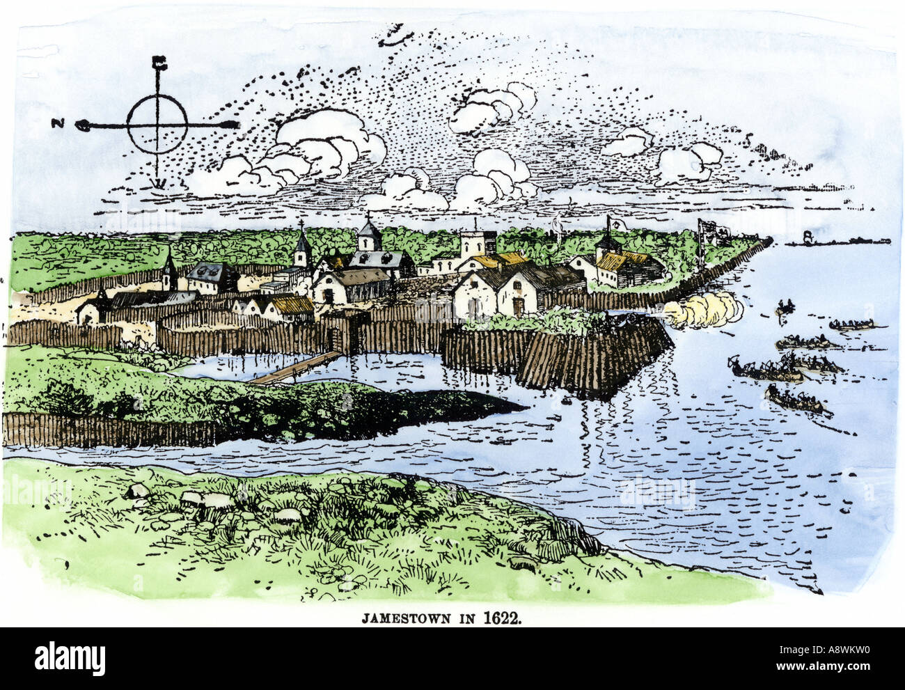 Jamestown fort and settlement as of 1622 Virginia Colony. Hand-colored woodcut - Stock Image
