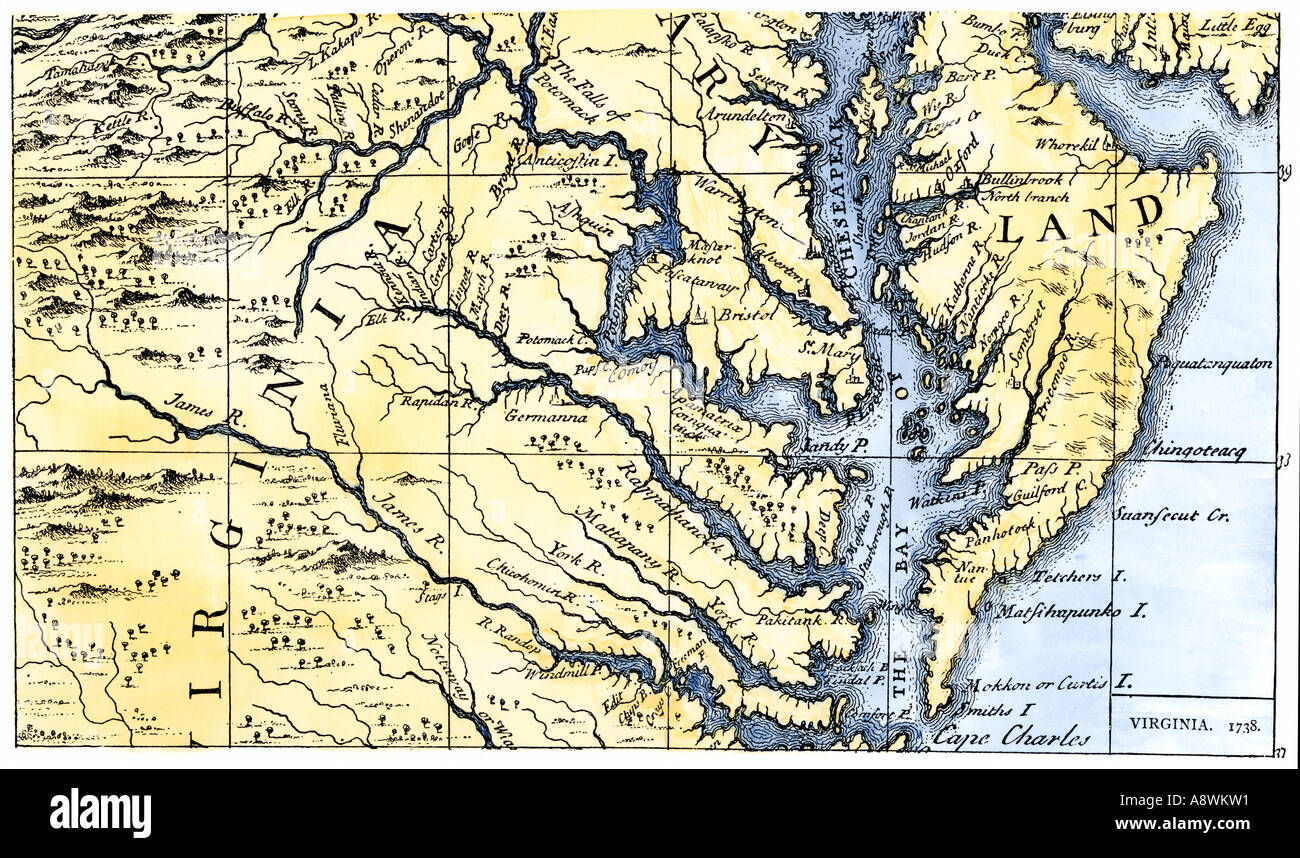 Map of Virginia and Maryland colonies settled in 1738. Hand