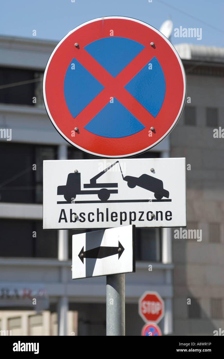 Vienna, Austria. Road Sign - No Stopping, tow away zone - Stock Image
