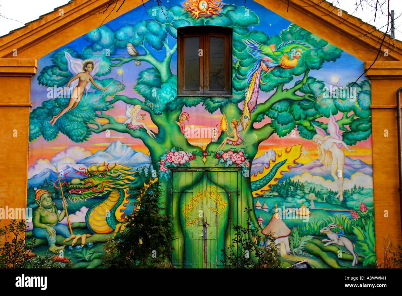A wall mural in Cristiania. The hippie area of Copenhagen Denmark - Stock Image