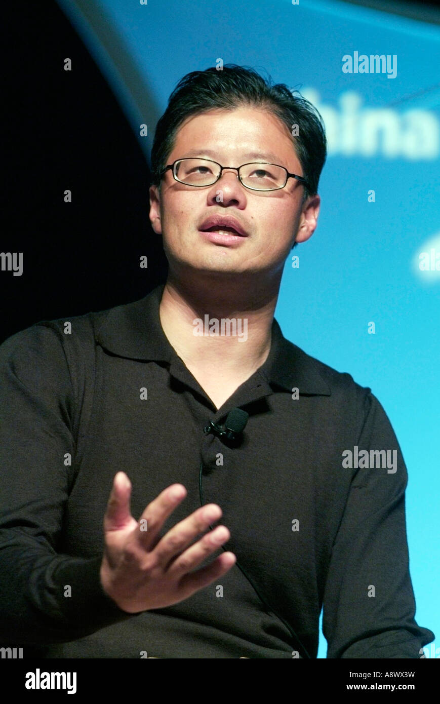 Jerry Yang Co-Founder and Chief Executive Officer of Yahoo! Inc. during a speech in Silicon Valley CA  Photo by - Stock Image