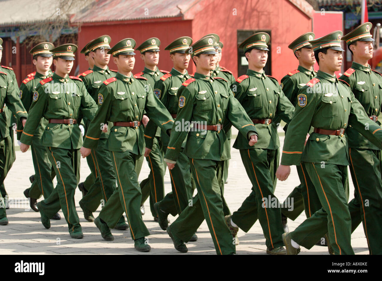 Chinese soldiers on parade in the Forbidden City - Stock Image