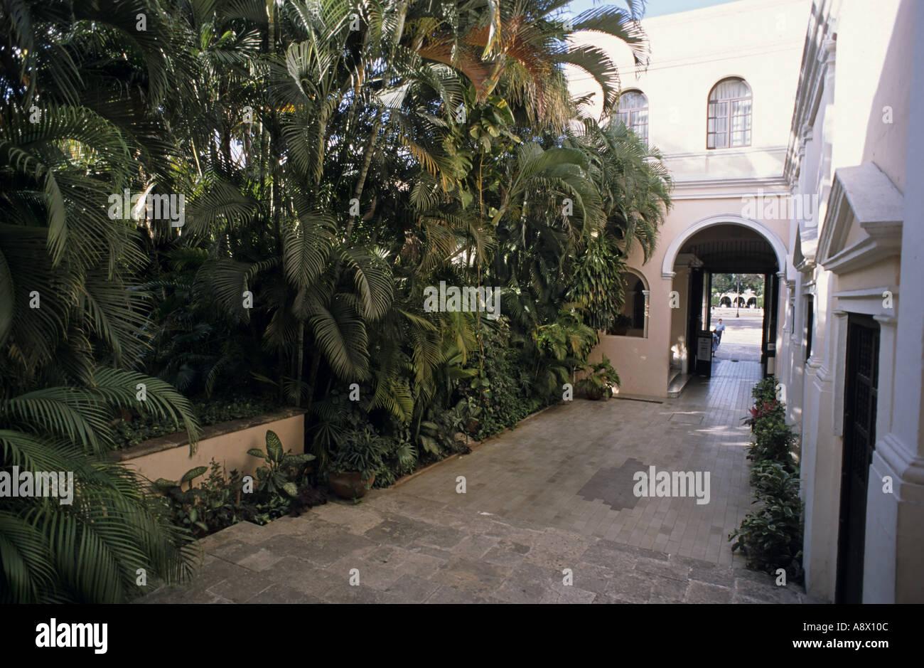 Mexico Yucatan State Merida Casa De Montejo Garden Stock Photo