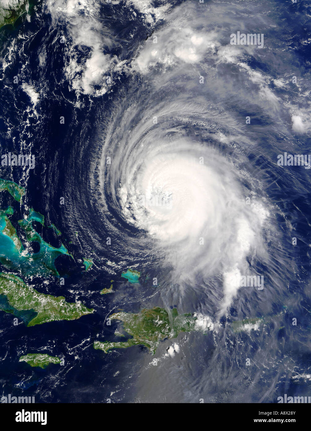 Hurricane Isabel east of the Bahamas viewed from space - Stock Image