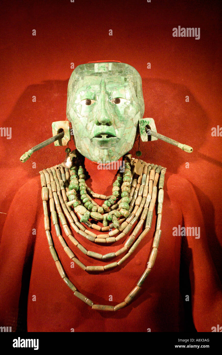 Replica of Lord Pakal's jade death mask and Mayan jade necklaces from Pakal's tomb in Palenque, Chiapas, - Stock Image