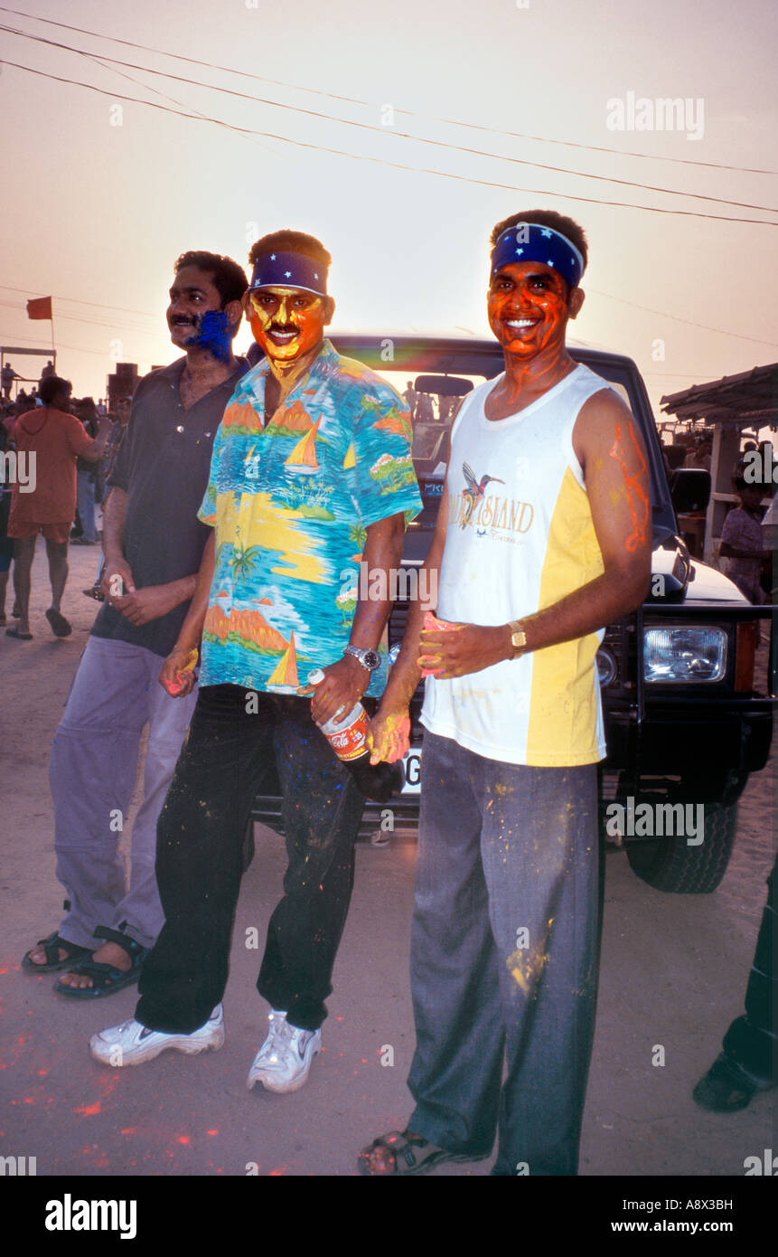 Painted faces of  hip young men on the street during Divali festival in Panjim Goa India Asia - Stock Image