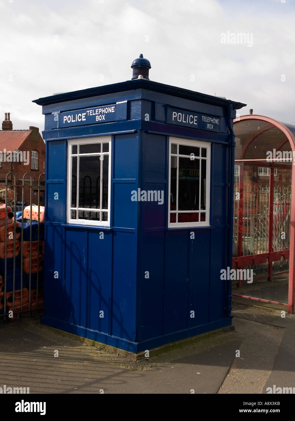 A traditional blue police telephone box at Scarborough North Yorkshire UK - Stock Image