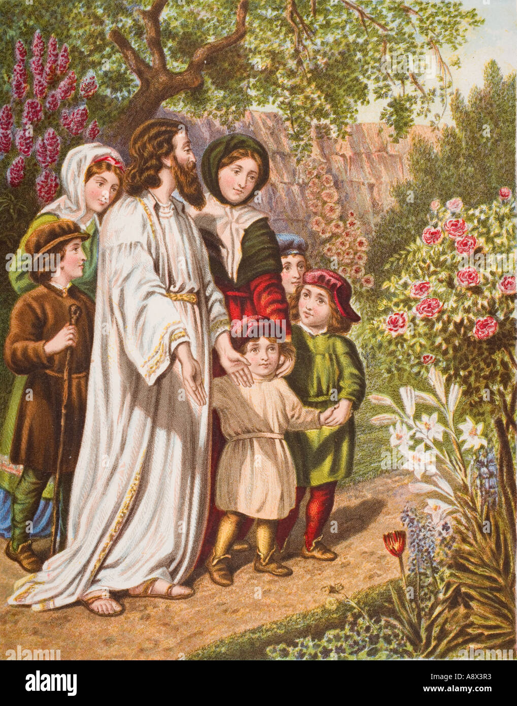 The interpreter and the pilgrims in the garden From the book The Pilgrim s Progress - Stock Image