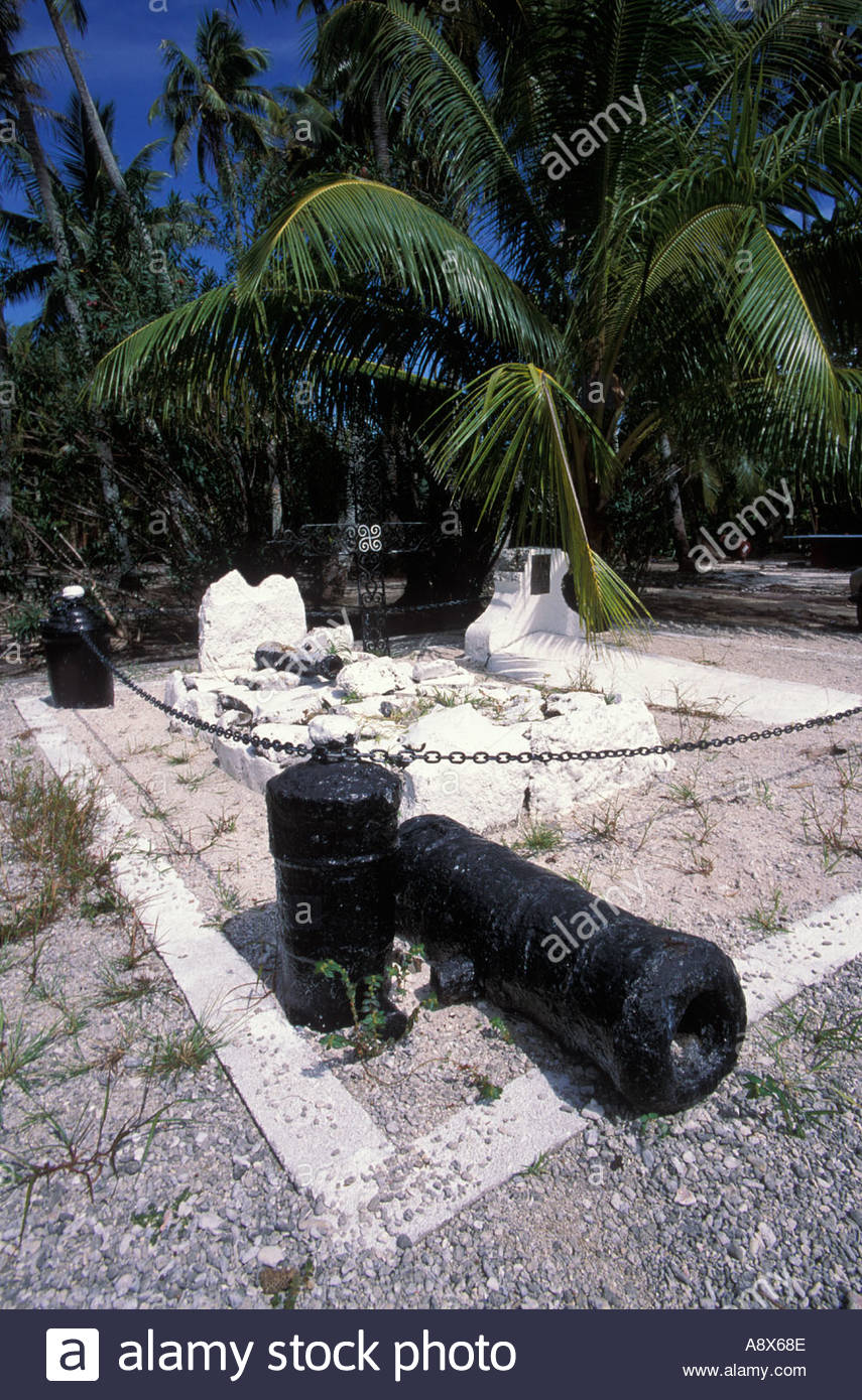 French cannons on Huahine Island, South Pacific - Stock Image