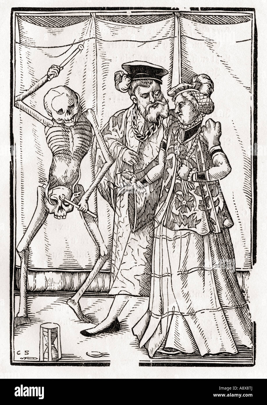 Death comes to the Duchess Woodcut by Georg Scharffenberg From Der Todten Tanz or The Dance of Death published Basel - Stock Image