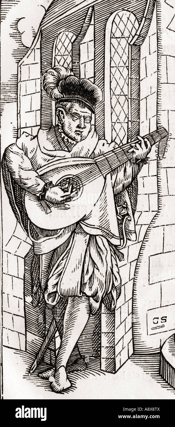 A troubadour.  Detail of a woodcut by Georg Scharffenberg from Der Todten Tanz or The Dance of Death published Basel - Stock Image