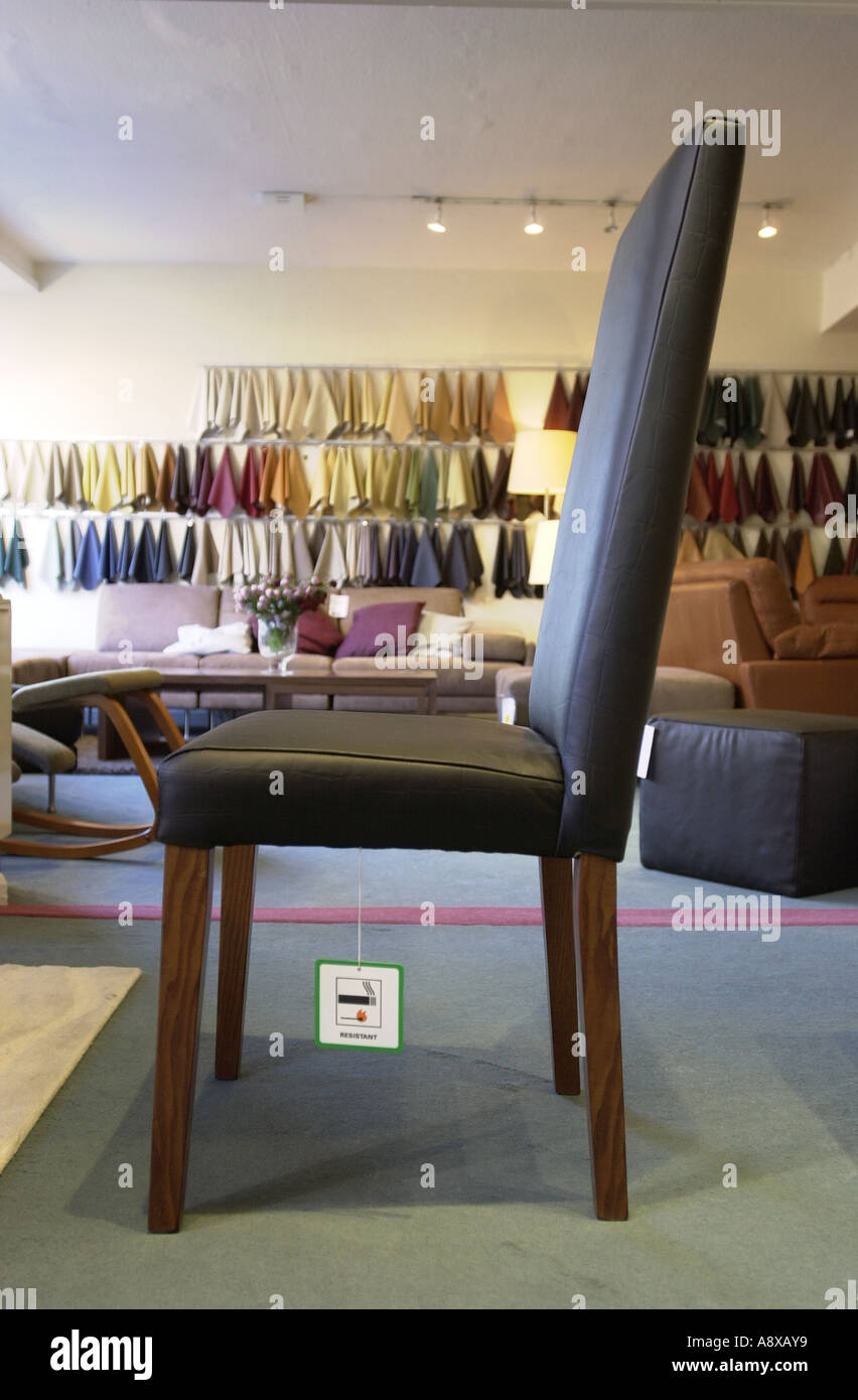 Beau Chair Shows The Fire Resistant Label UK Stock Photo: 6965816 ...