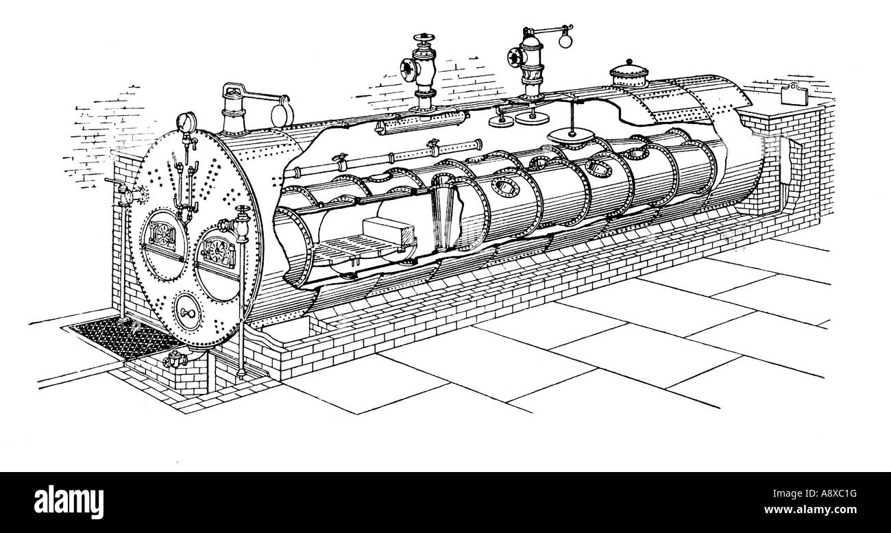GALLOWAY LANCASHIRE TYPE STEAM BOILER WITH TWIN FURNACES Stock Photo ...