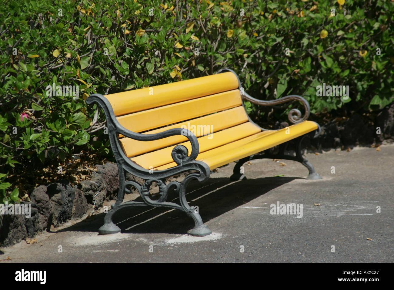 9b4df75fdebf A Yellow Park Bench Stock Photo  2272294 - Alamy